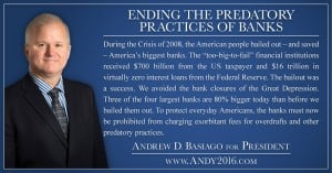 Andy 2016 presidential candidate ending predatory banks