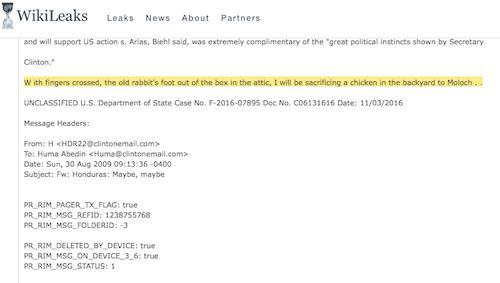 clinton podesta email sacrificing chicken to moloch 30489