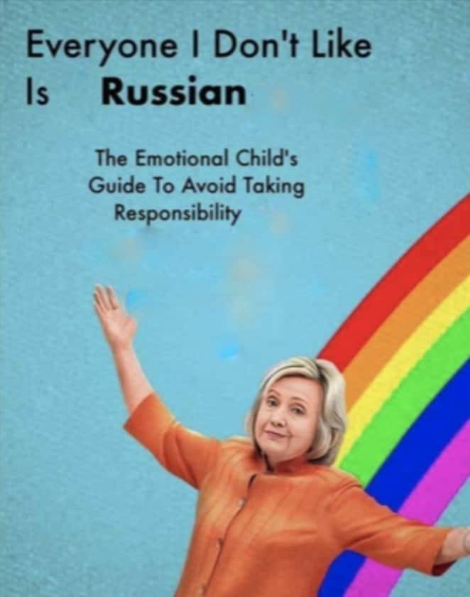 American denial Hillary Clinton blames Russians no responsibility